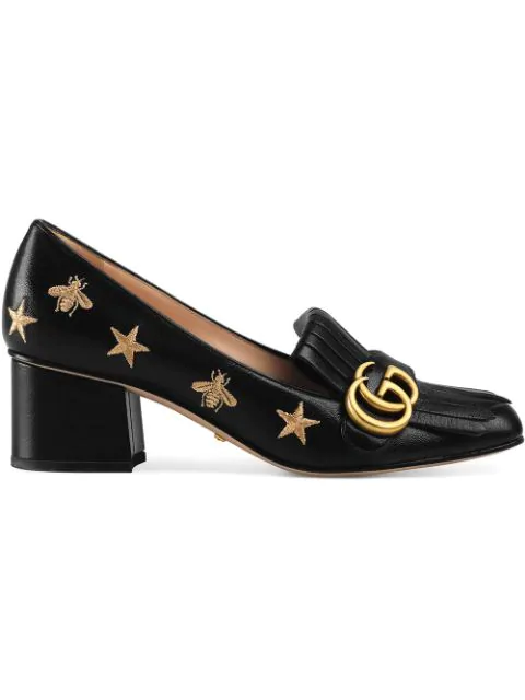 Gucci Marmont Fringed Logo-Embellished Embroidered Glossed-Leather Pumps In 1000 Black