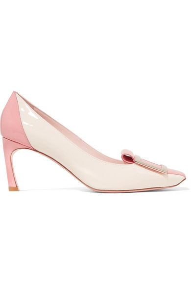 Roger Vivier Trompette Tongue Two-Tone Patent-Leather Pumps In Blush