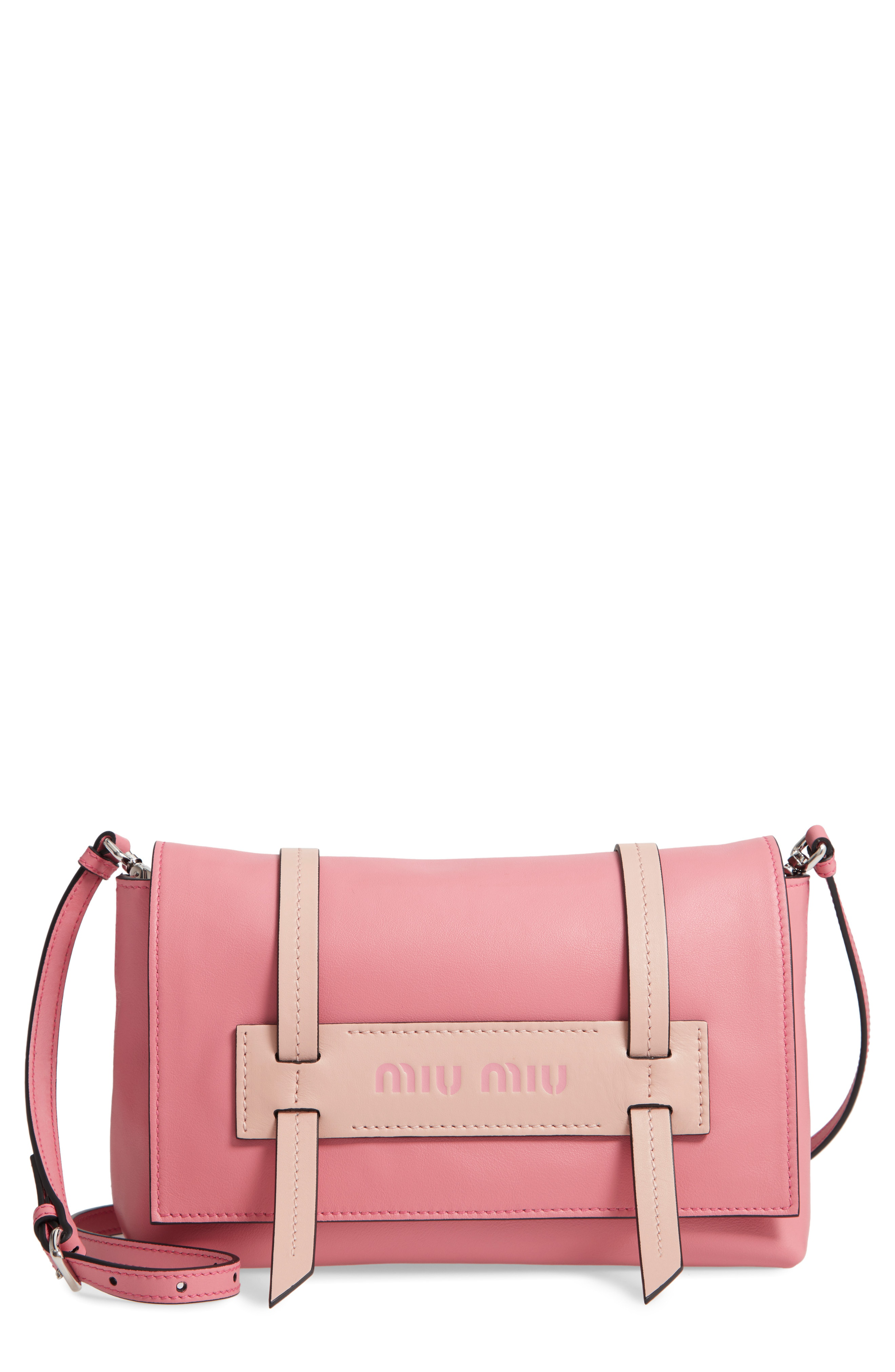 ... to the slouchy style of this chic calfskin bag accented with  logo-embossed contrast trim. Style Name  Miu Miu Small Grace Calfskin  Shoulder Bag. 94ea9290380f7