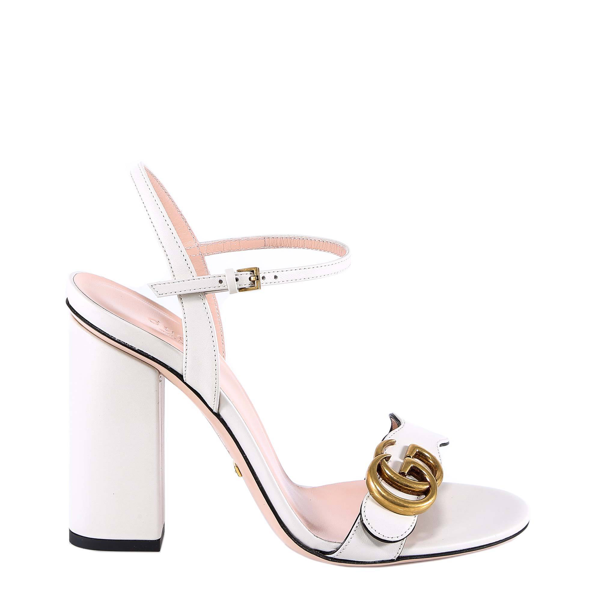 ee1f0a88125a Gucci Gg Ankle Strap Sandals In White