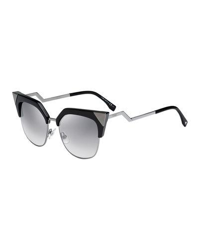 bc8f70667b2 Fendi 54Mm Metal Tipped Cat Eye Sunglasses - Black  Dark Ruthenium In  Gunmetal Black