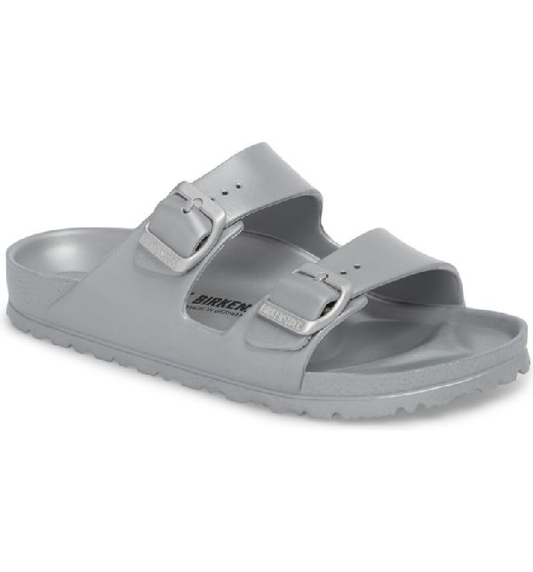 07b7dd22a115 Birkenstock Women s Arizona Eva Essentials Slide Sandals In Metallic Silver