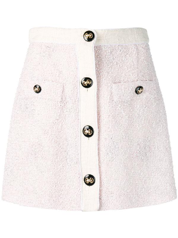 b8c1935da0d9 Alessandra Rich Buttoned High-Waist Tweed Mini Skirt In Pink | ModeSens