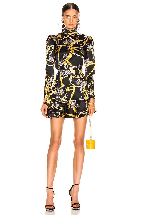 Alessandra Rich Button-Embellished Printed Silk-Satin Mini Dress In Black
