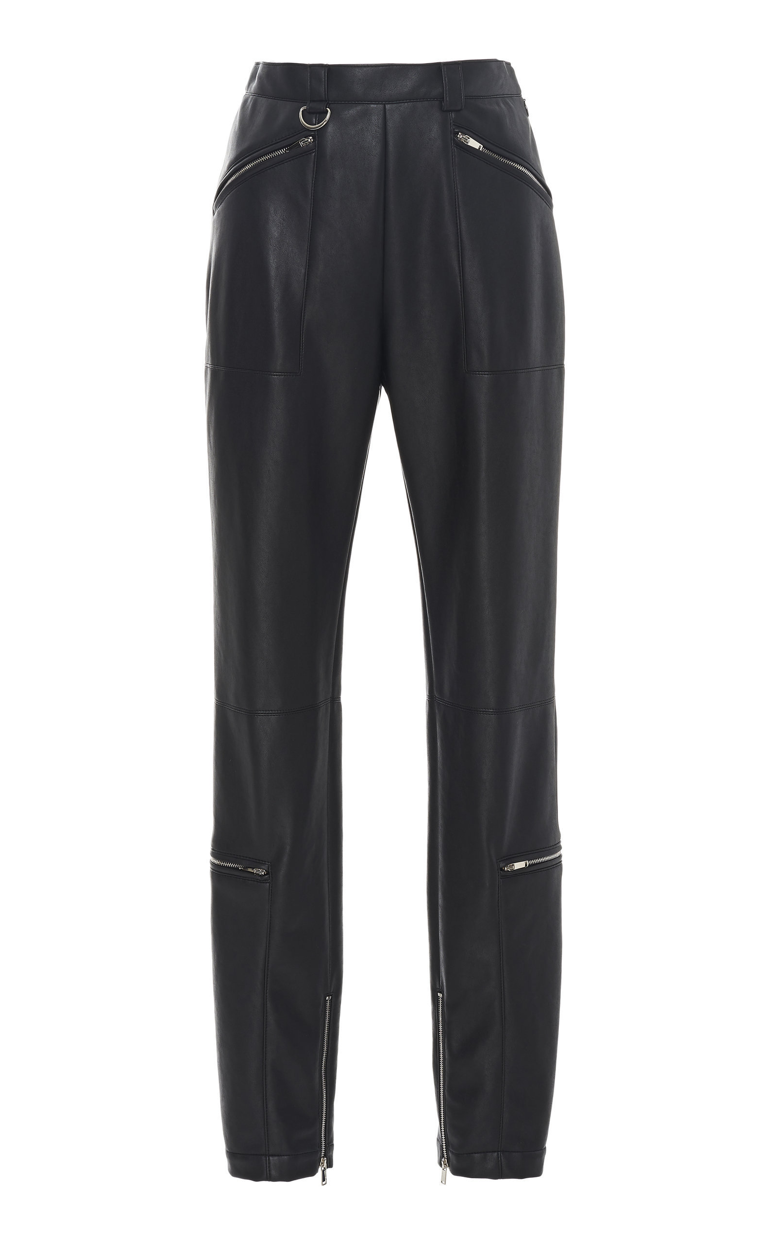 b3dc5936375 Sally Lapointe Zip-Detailed Faux Leather Skinny Pants In Black ...