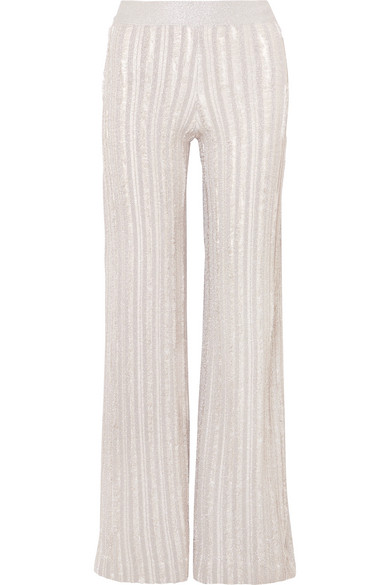 Herve Leger Striped Metallic Knitted Wide-leg Pants In Silver
