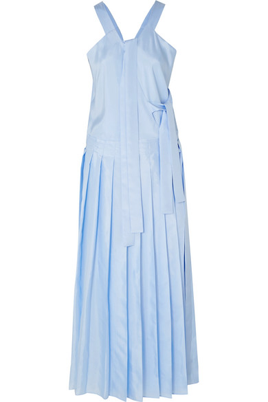 Joseph Emmy Pleated Silk-satin Midi Dress In Blue