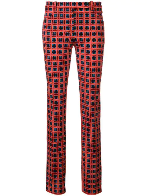 Versace Checked Cotton-Blend Twill Straight-Leg Pants In Red