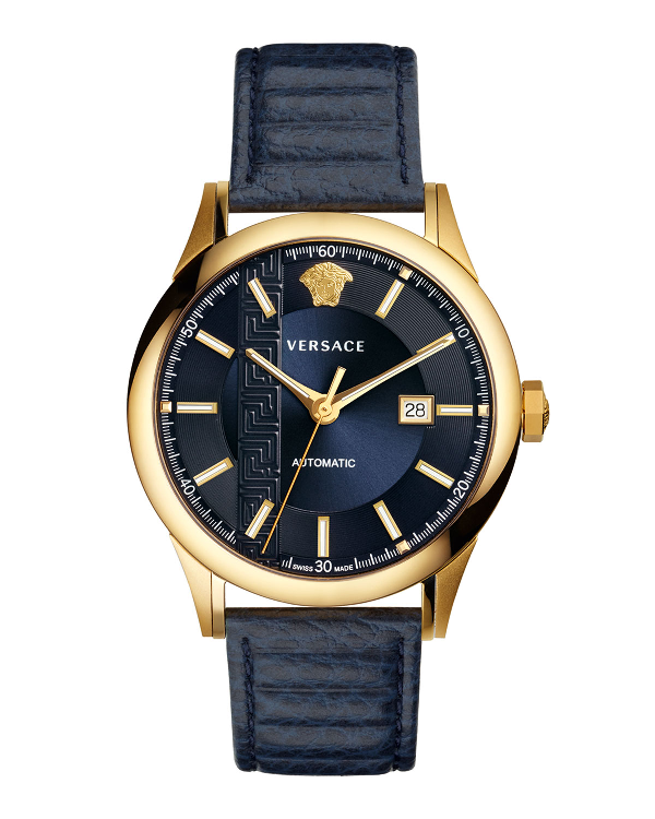 Versace 44Mm Aiakos Men's Automatic Watch With Blue Leather Strap In Blue/ Gold