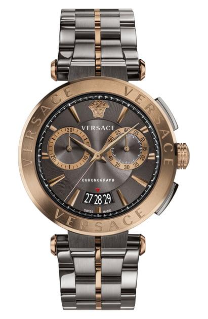 Versace Aion Chronograph Bracelet Watch, Silver In Gunmetal/ Black/ Bronze