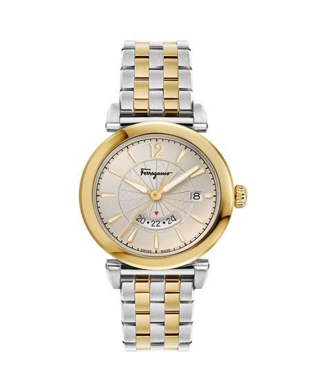 Salvatore Ferragamo Men's Feroni Two-Tone Bracelet Watch, Silver/Gold Ip In Silver/ Gold