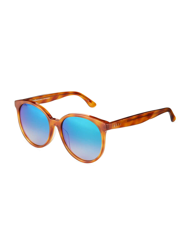 c935b310c Diff Eyewear Cosmo Oversized Round Acetate Sunglasses In Brown Pattern