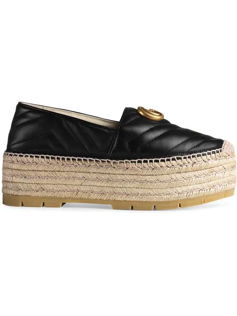 Gucci Marmont Platform Leather Espadrilles In Black