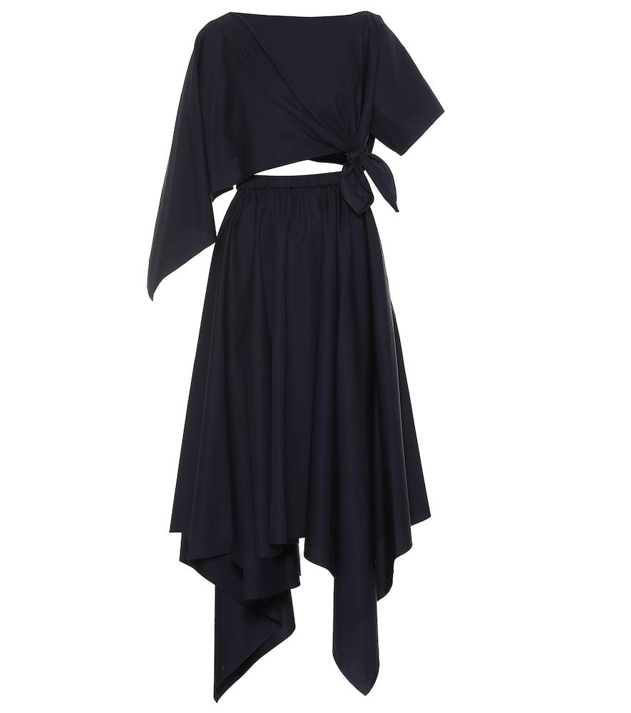 Rosie Assoulin Asymmetrical Cotton Midi Dress In Blue