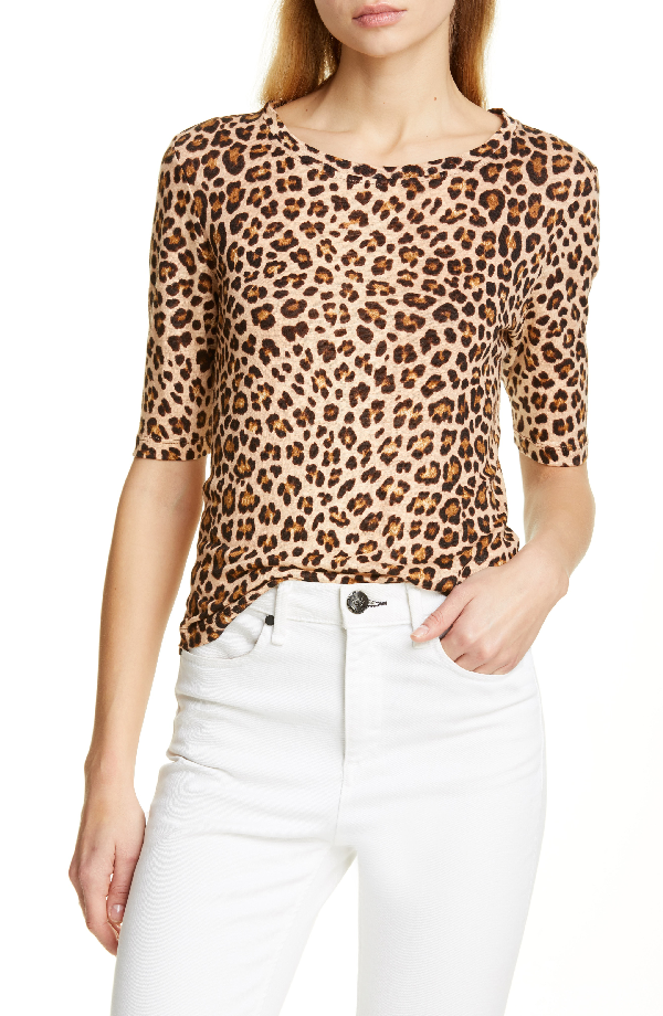 b0e835a96c1 Rebecca Taylor Short-Sleeve Linen Leopard-Print Tee In Biscuit ...
