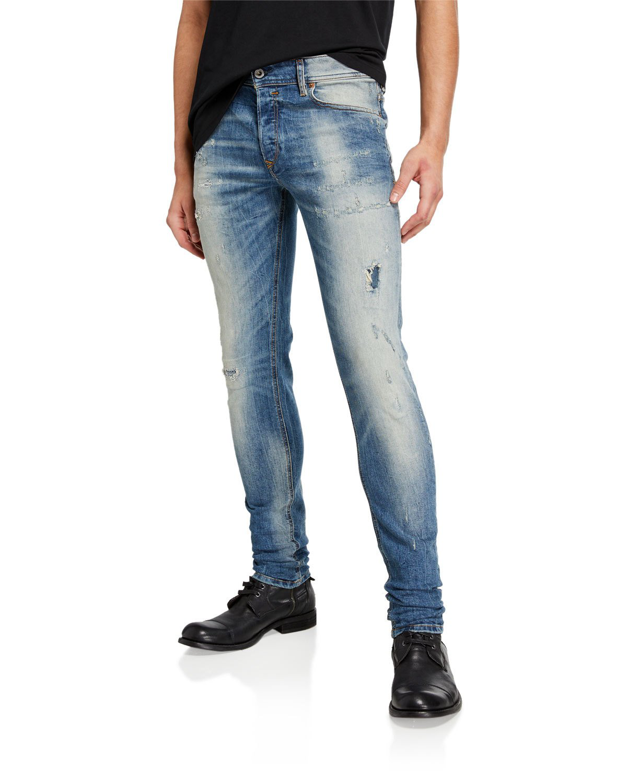 12329ea0692 Diesel Men's Sleenker Dk Skinny Distressed Jeans In Blue | ModeSens