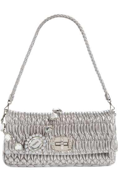 3dab636c0ff Miu Miu Medium Swarovski Crystal Chain Leather Shoulder Bag - Metallic In  Cromo