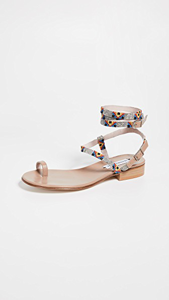 Leandra Medine Beaded Sandals In Multicolor