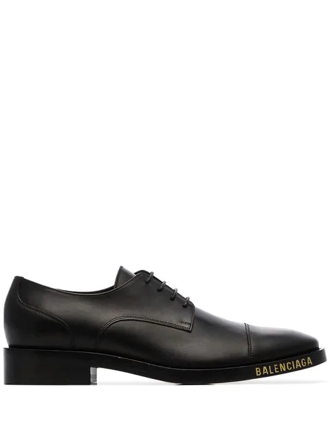 Balenciaga Leather Lace-Up Derby Shoes W/ Logo In 1000 Black