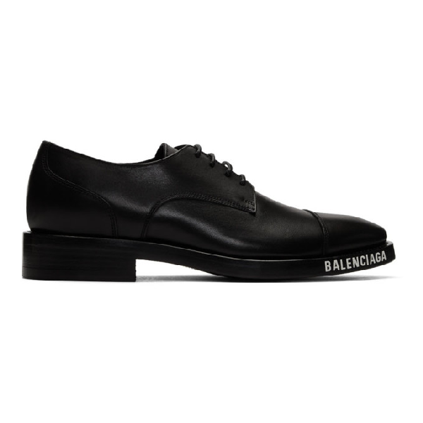 Balenciaga Leather Lace-up Derby Shoes W/ Logo In 1000black