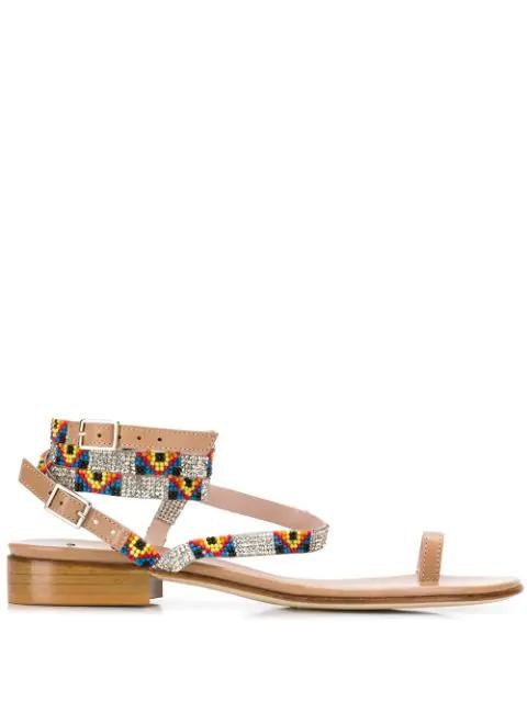 Leandra Medine Embellished Detail Sandals - Neutrals