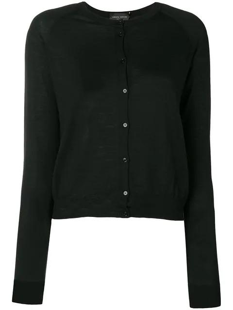 Roberto Collina Classic Knit Cardigan In Black