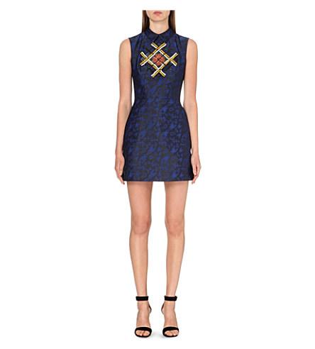 Mary Katrantzou Bead-Embellished Jacquard Dress In Black And Blue Abstract-Jacquard