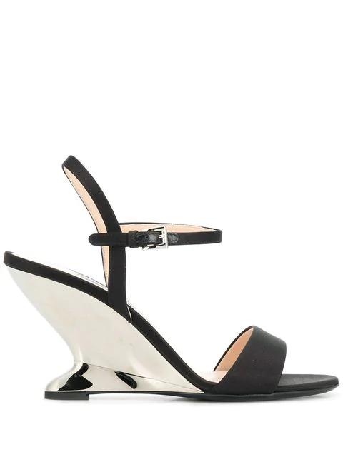 Prada Metallic Heel Sandals In Black