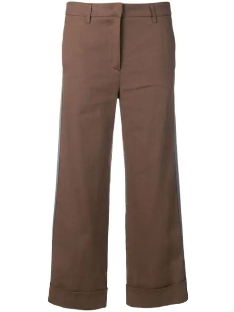 Fabiana Filippi Contrasting Side Stripes Trousers In Brown