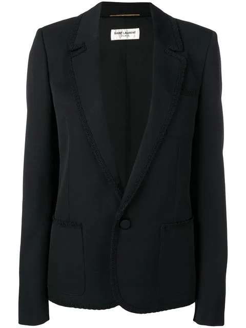 Saint Laurent Single Button Blazer In Black