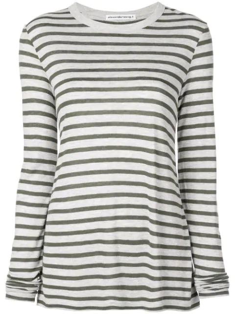 Alexander Wang Horizontal Striped T-shirt In Grey