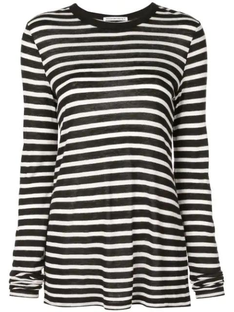 Alexander Wang Horizontal Striped T-shirt In Black