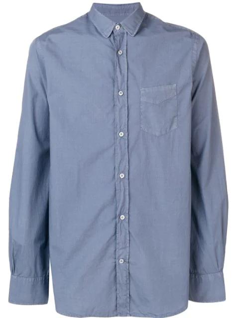 Officine Generale Front Pocket Shirt In Blue
