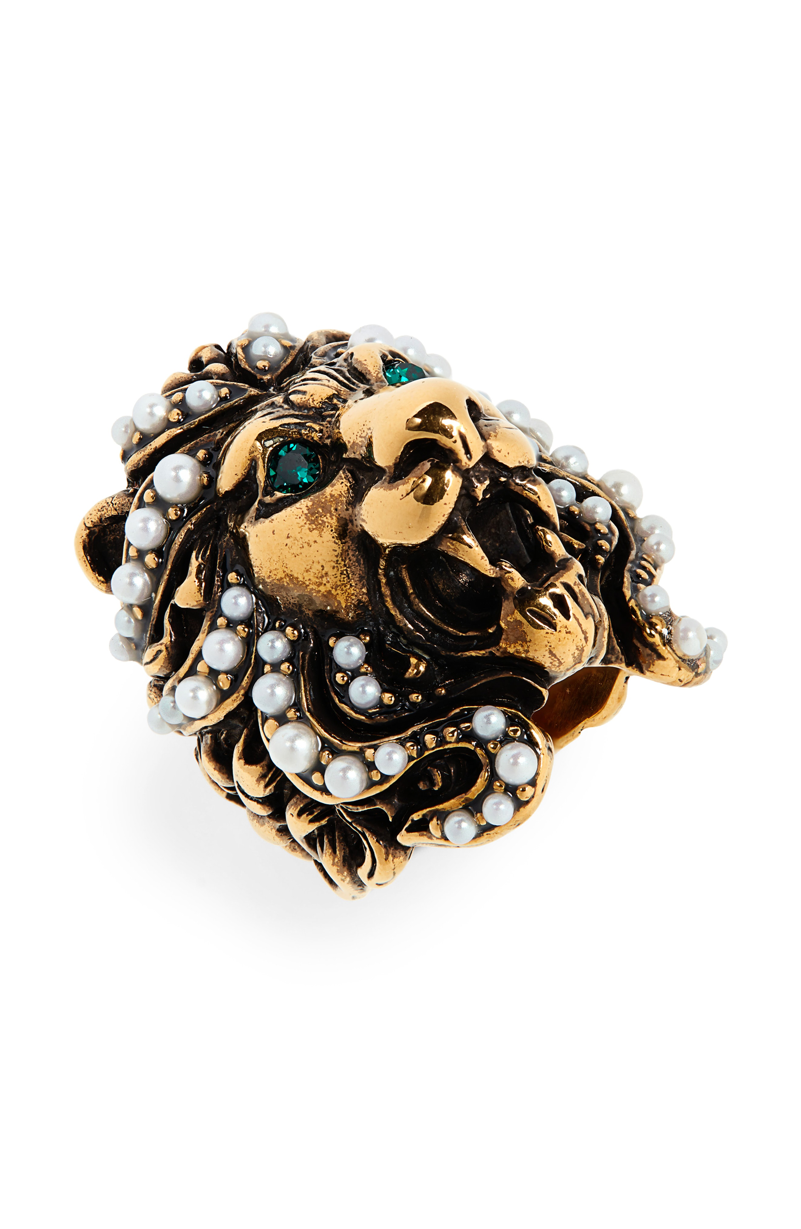 cca990d99 Gucci Lion Head Imitation Pearl & Crystal Ring In Gold/ Pearl | ModeSens