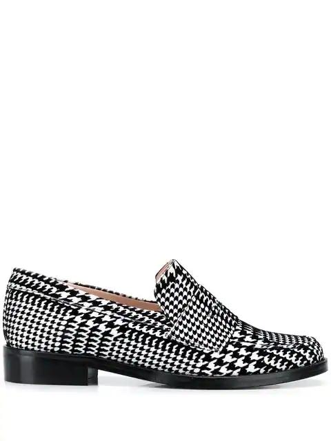 Leandra Medine Check Print Loafers In Black