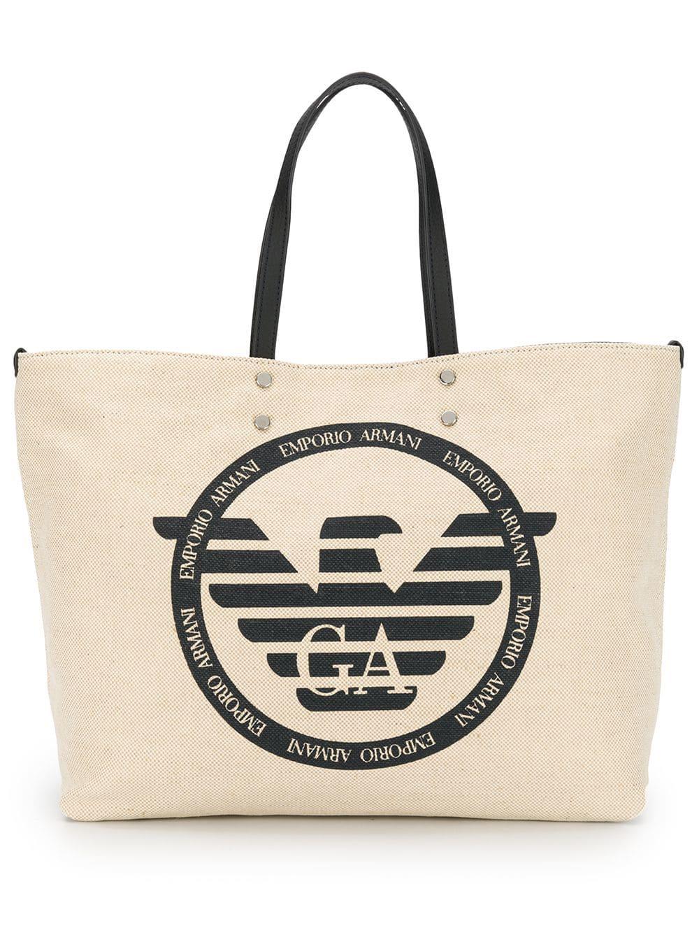 a80fd1be09eb Emporio Armani Logo Canvas Tote - Neutrals