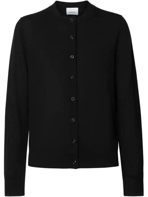 Burberry Monogram Motif Cashmere Cardigan In Black