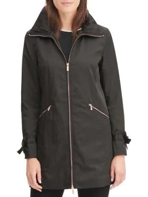Karl Lagerfeld Packable A-line Rain Jacket In Black