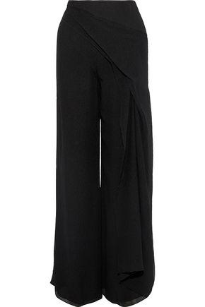 Roland Mouret Woman Farnley Draped Silk Crepe De Chine Wide-Leg Pants Black