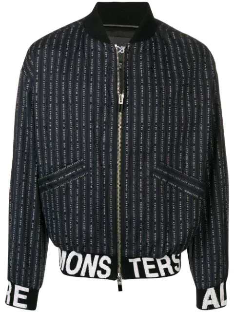Just Cavalli Slogan Print Bomber Jacket In Black