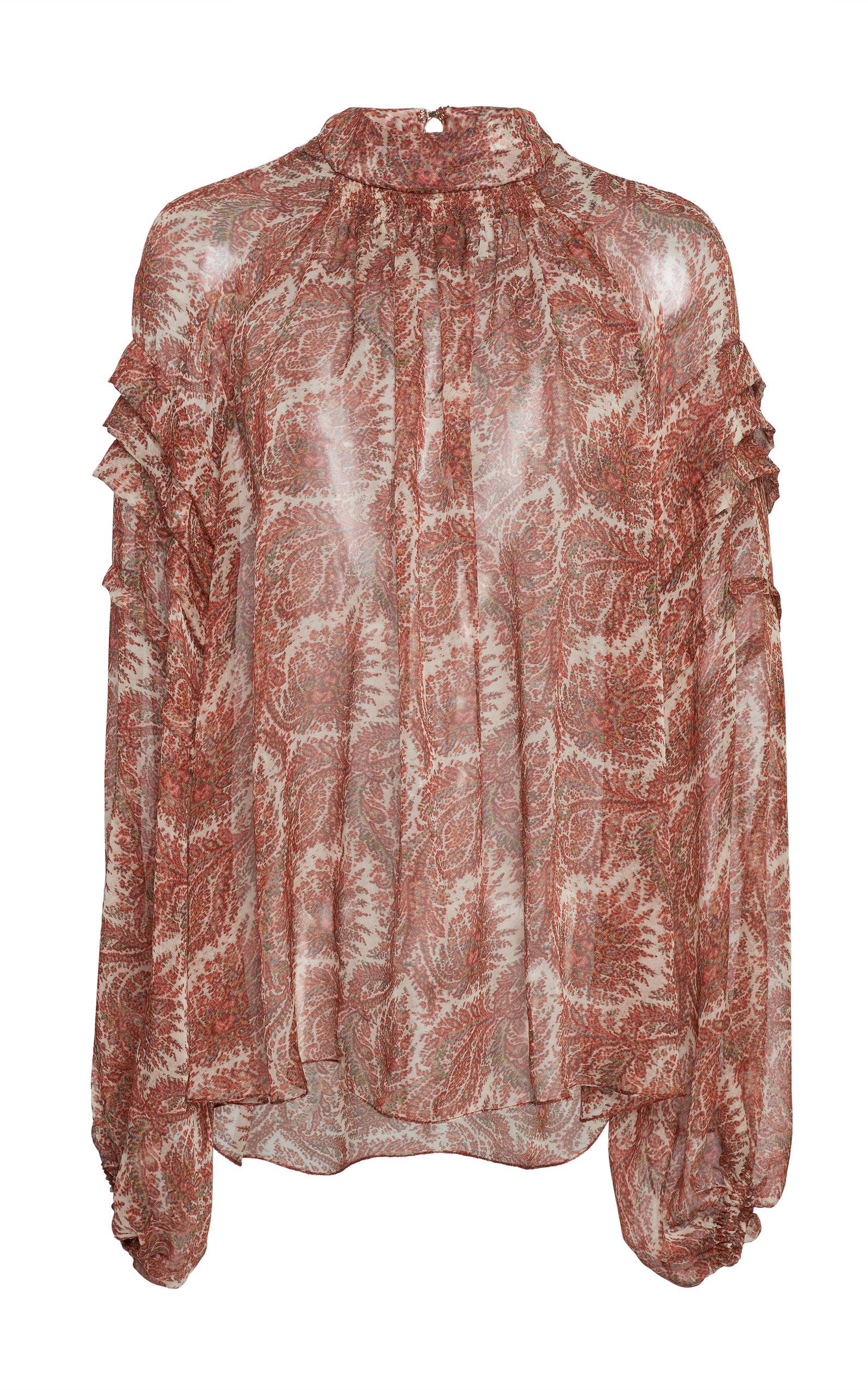 99013ffda5fe6b Adam Lippes Smocked Printed Silk Chiffon Blouse