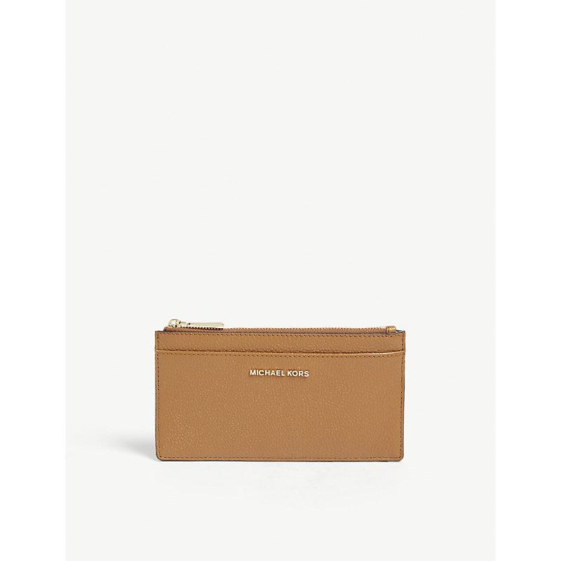 b6273b3e7aee Michael Michael Kors Logo Leather Zip Card Holder In Acorn