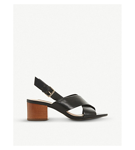 Dune Indey Cross-Strap Leather Sandals In Black-Leather