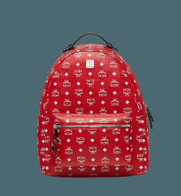 250543ae20327 Mcm Viva Red Stark Backpack W/White Logo Visetos 40 | ModeSens