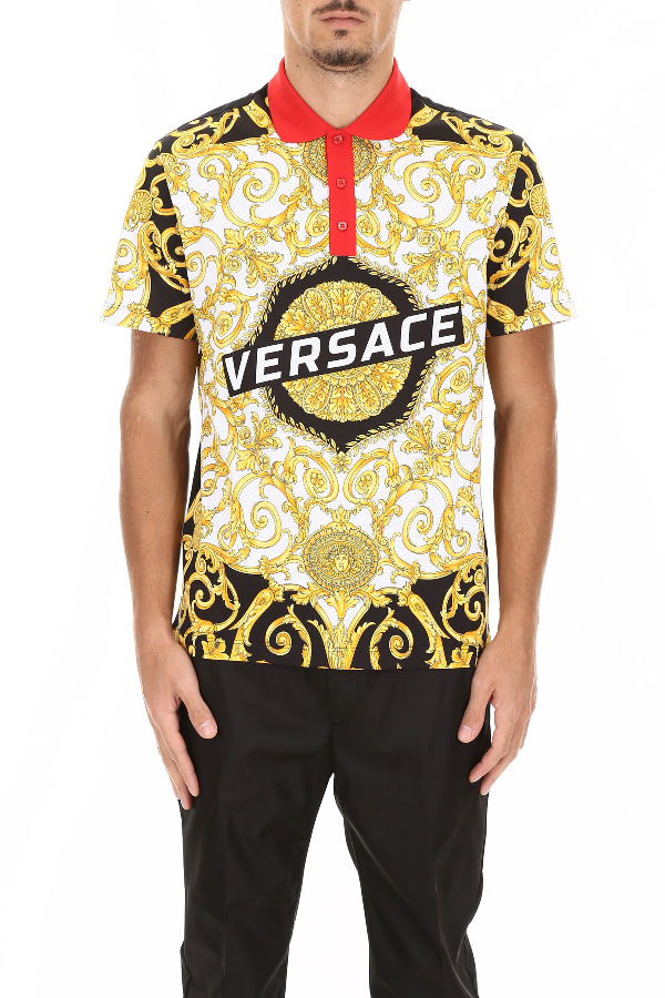 Versace Men's Short Sleeve T-Shirt Polo Collar Hibiscus In Black
