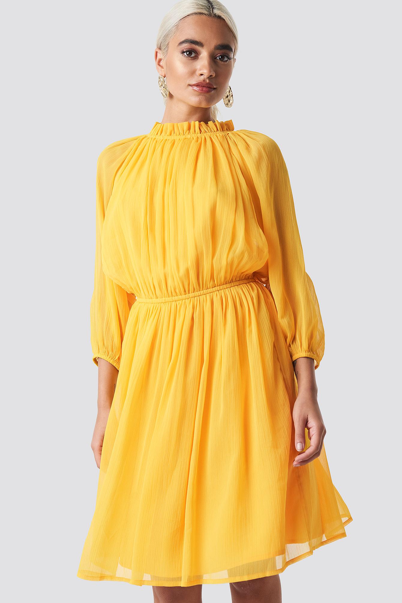 c0cfbd77d31d Na-Kd High Neck Elastic Waist Puff Dress - Yellow