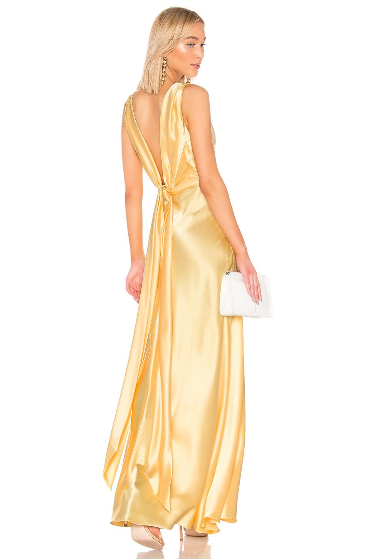 b612c8b698dfb Jill Jill Stuart V-Neck Sleeveless Open-Back Satin Gown In Pale Yellow