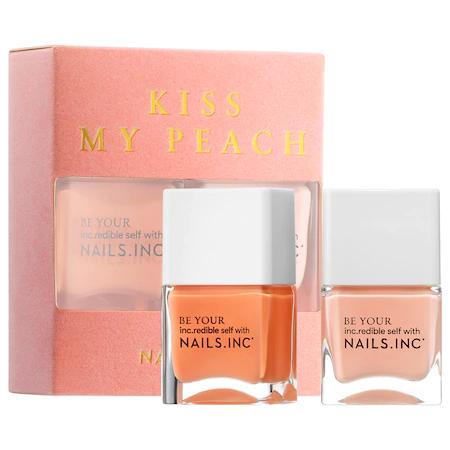 Nails Inc. Kiss My Peach Duo Nail Set Hot Fuzz/peach Tease 2 X 0.47 oz/ 14 ml