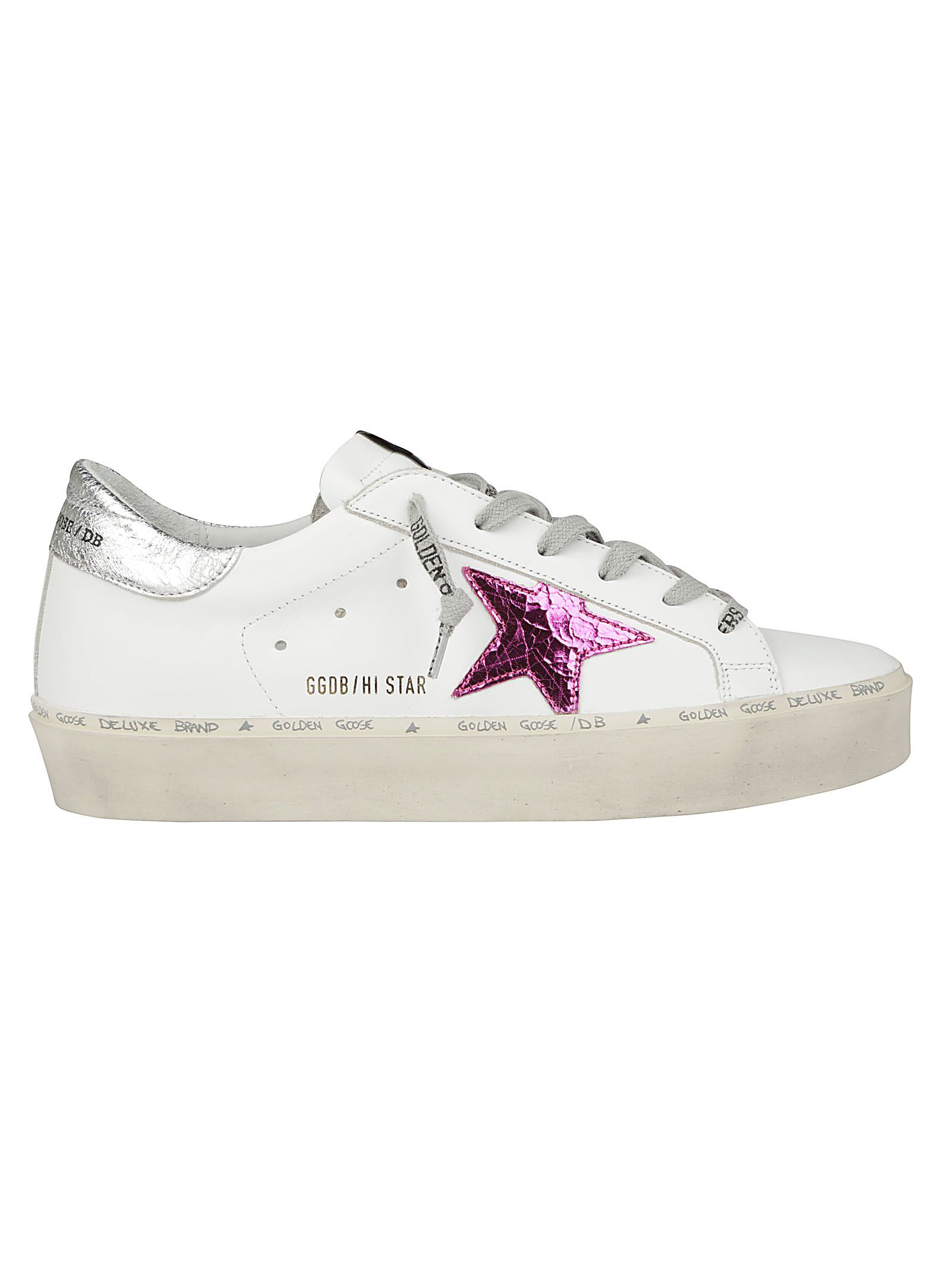 48a8f4eca8d5 Golden Goose Sneakers Hi Star In White Silver Pink