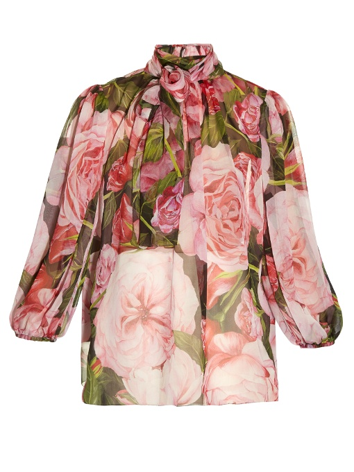 15d2bee342c44 Dolce   Gabbana Pussy-Bow Floral-Print Silk-Chiffon Blouse In Pink ...